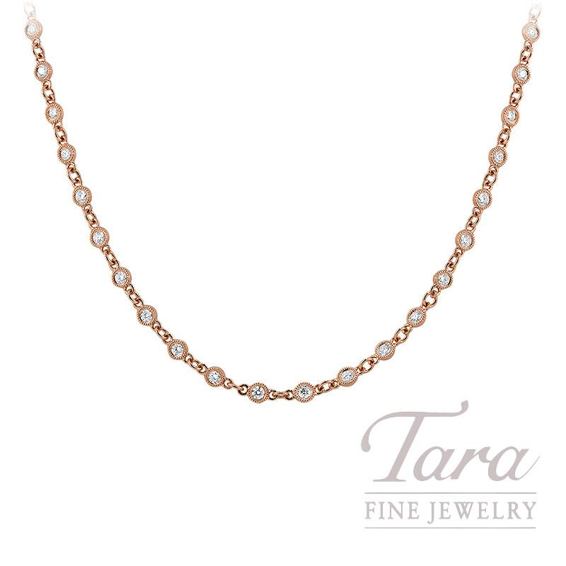 "18k Rose Gold Diamond Bezel Chain Necklace, 18/20"" Chain, 6.6G, 1.24TDW"