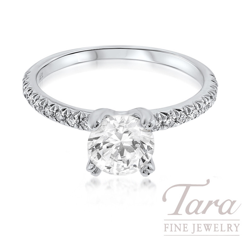 18K White Gold 0.20TDW Semi MT  Fits 1.50CT, 34 Round Diamonds (Center Stone Sold Separately)