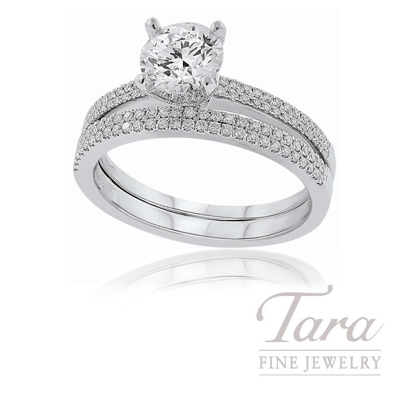 18k White Gold Diamond Wedding Set, 1.01CT Forevermark Diamond, .31TDW (Center Stone Sold Separately)