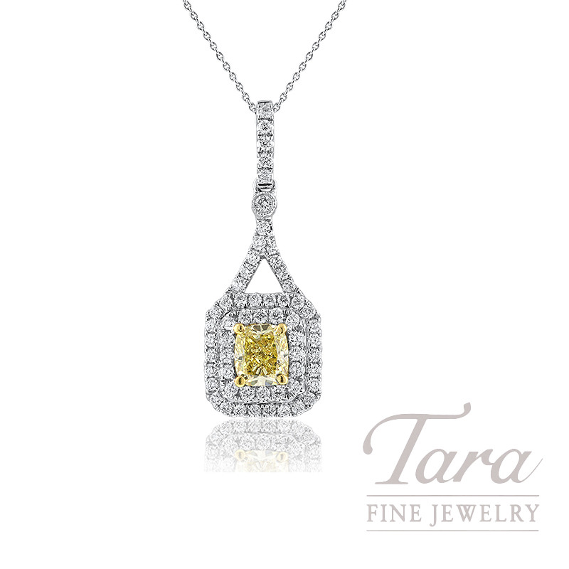 Forevermark 18K Two-Tone Fancy Yellow Diamond Double Halo Pendant, .79CT Fancy Yellow Diamond, .46TDW