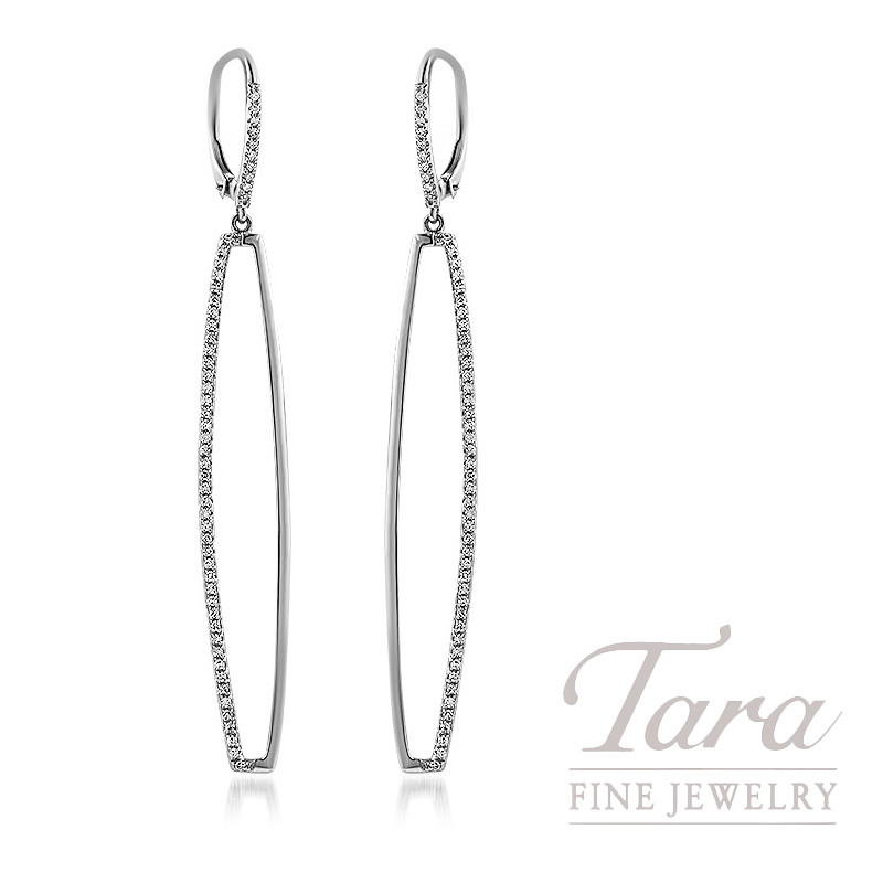 18K White Gold Diamond Dangle Earrings, 3.7G, .44TDW