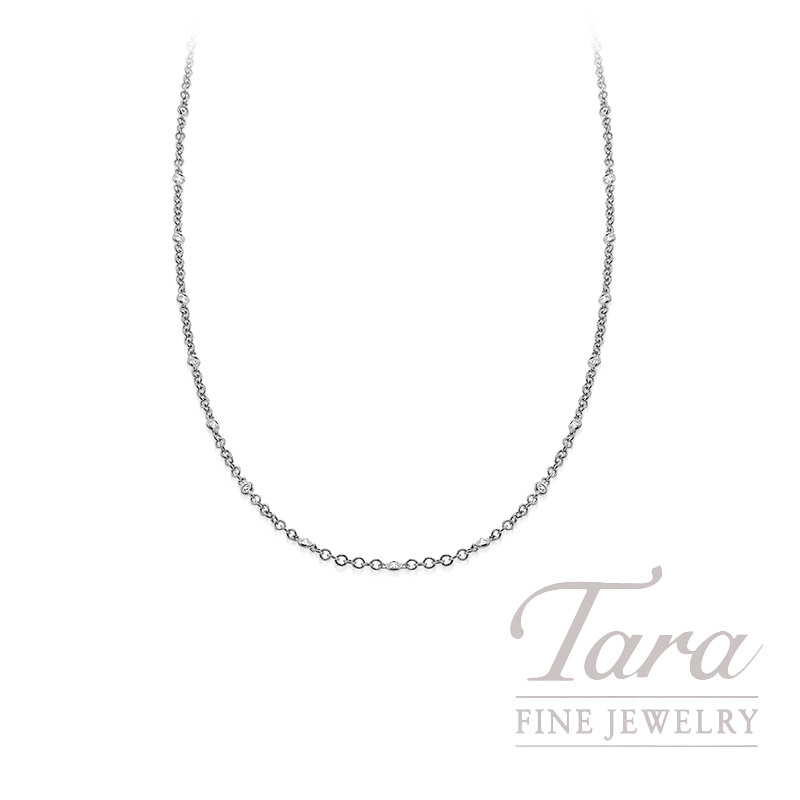 "18K White Gold Bezel Diamond Chain Necklace, 16/18"" Chain, 5.6G, .65TDW"