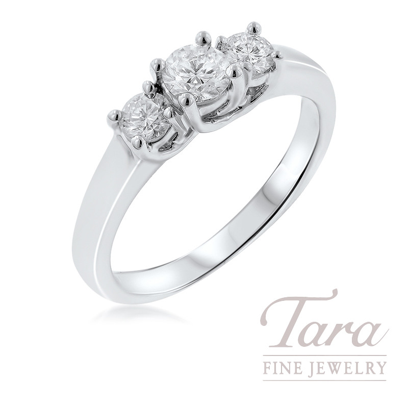 18K White Gold Three-Stone Engagement Ring, 3.6G, .50TDW