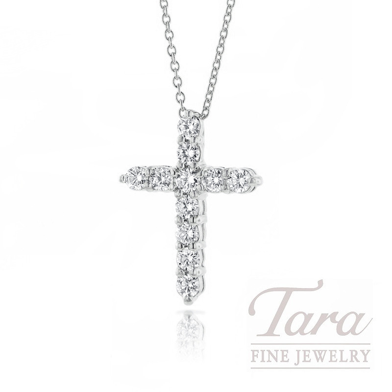 "Roberto Coin 18K White Gold Diamond Cross Necklace, 16/18"" Chain, .88TDW"