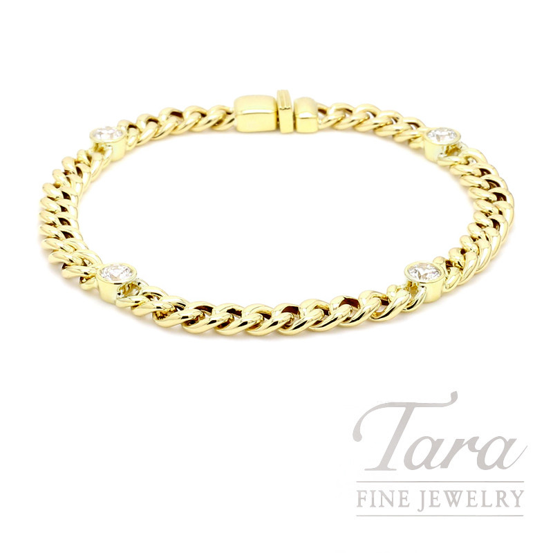 Norman Covan 18k Yellow Gold Bracelet With 4 Round Diamonds 1 20ctdw 11 2 Grams