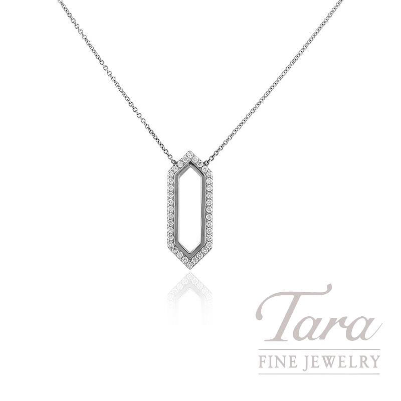"14K White Gold Diamond Necklace, 16"" Chain, 3.8G, .45TDW"
