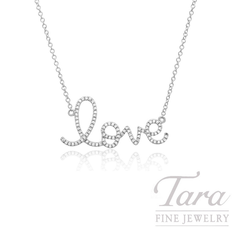 "14k White Gold Signature Love Diamond Necklace, 16/18"" Chain, .17TDW"