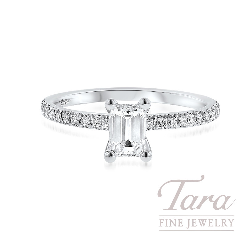 18K White Gold Emerald Cut Diamond Engagement Ring, 2.2G; 34 Round Diamonds, .20TDW (Center Stone Sold Separately)