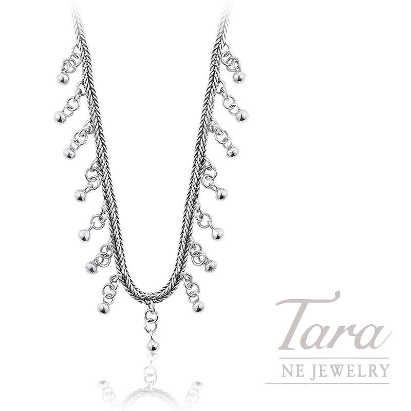 """Sterling Silver Dangle Bead Franco Chain Necklace, 16"""" Chain, 22.8G"""