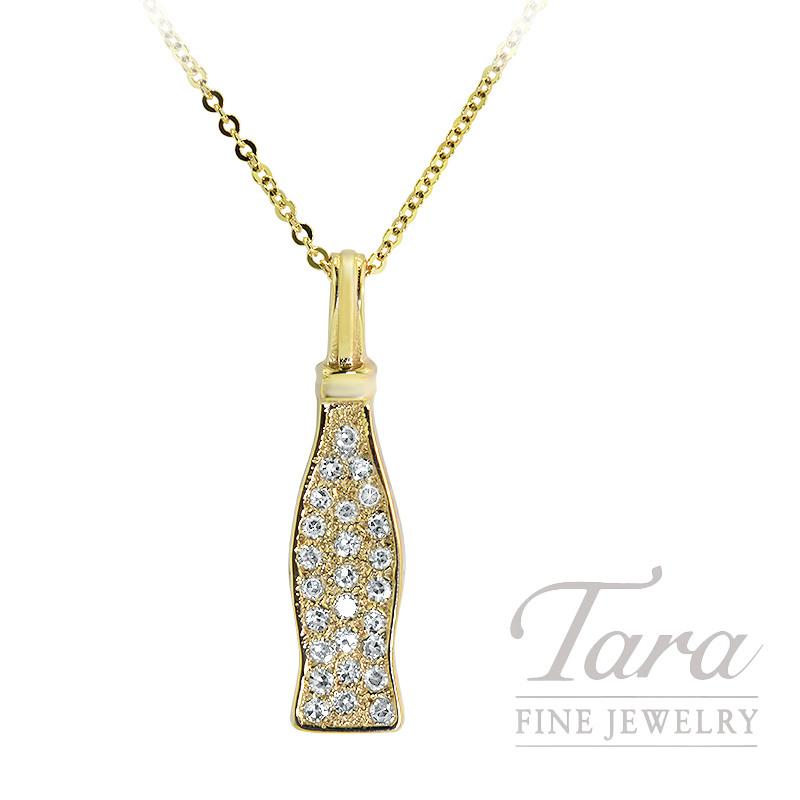 14K Yellow Gold Coca-Cola Diamond Pendant, 1.5G, .15TDW