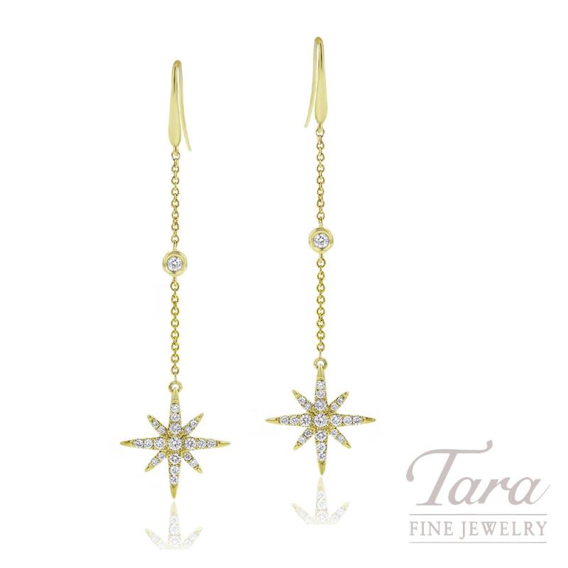 18K Yellow Gold Diamond Sparkler Dangle Earrings, 2.8G, .38TDW