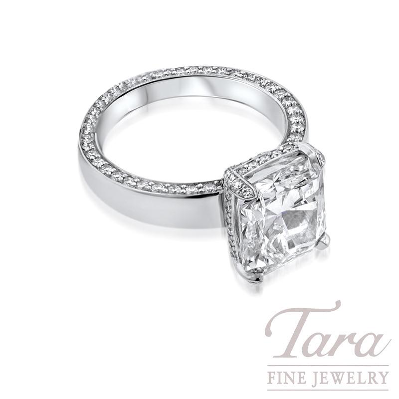 Radiant Cut Diamond Engagement Ring in Platinum .90TDW Round, 5.00CT Radiant Center