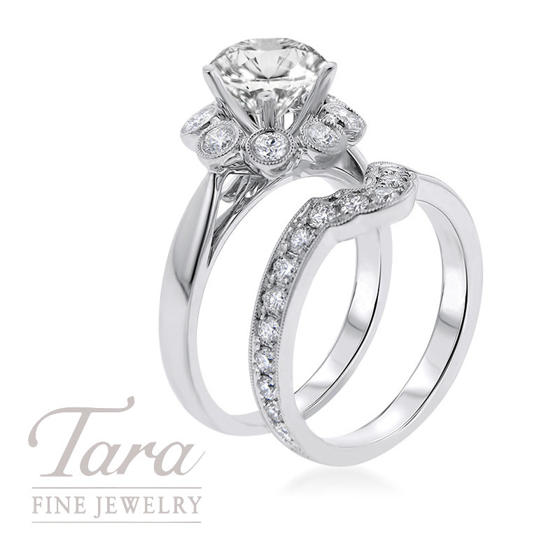 18K White Gold Diamond Halo Wedding Set, .63TDW (Center Stone Sold Separately)