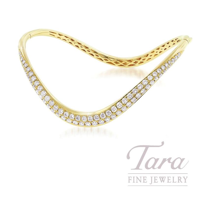 18K Yellow Gold Wavy Diamond Bangle Bracet, 1.64TDW