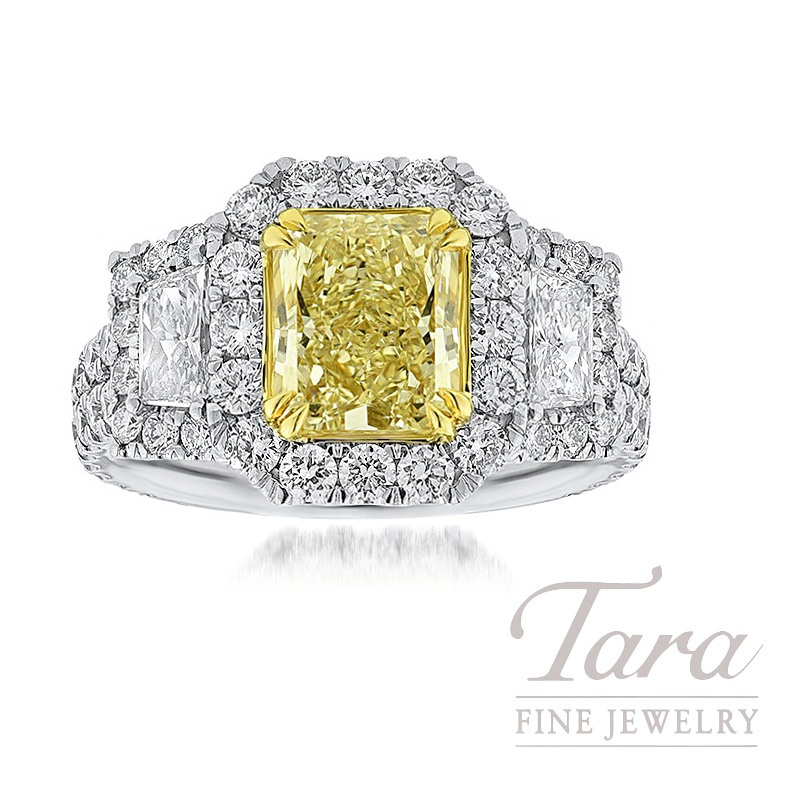 Platinum and 18k Yellow Gold Radiant Cut Fancy Yellow Diamond Ring, 2.03CT Radiant Cut Fancy Yellow Diamond, .59TW Trapezoids, .44TW Round Diamonds
