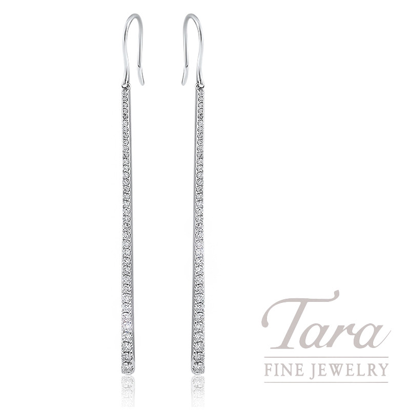 18k White Gold Diamond Bar Earrings 3 9g 88tdw