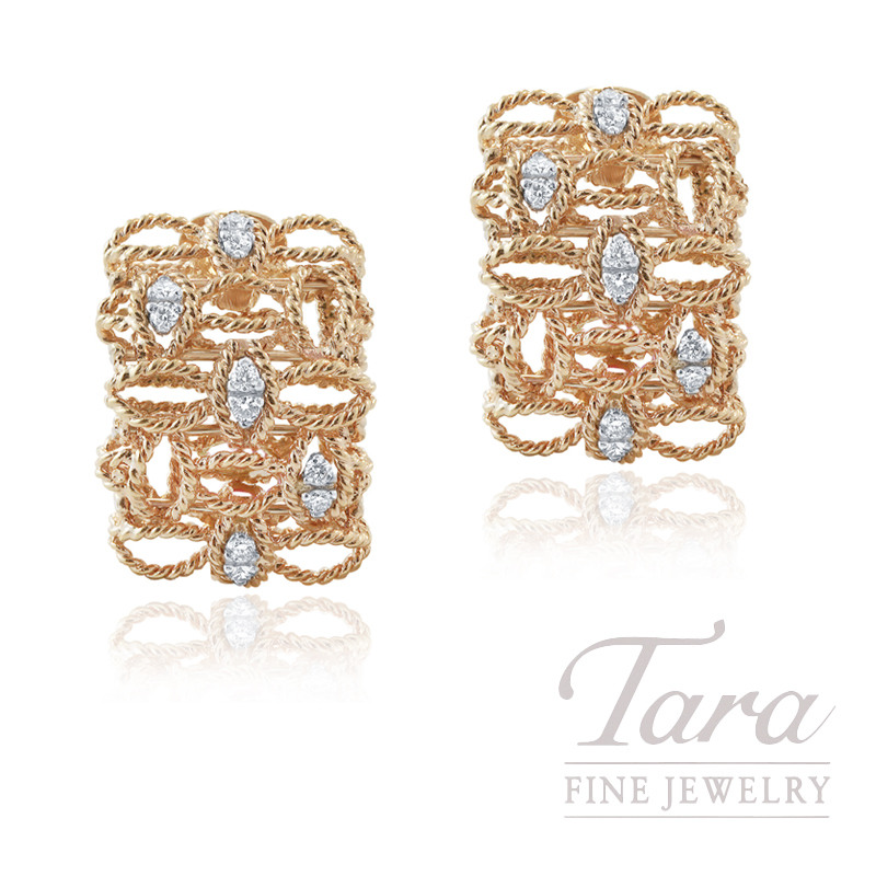 "Roberto Coin 18k Rose Gold Diamond Earrings, .31TDW, ""Barocco"" Collection"