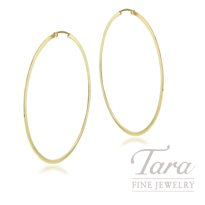 Roberto Coin 18k Yellow Gold Extra Large Flat Round Hoop Earrings 11 5g
