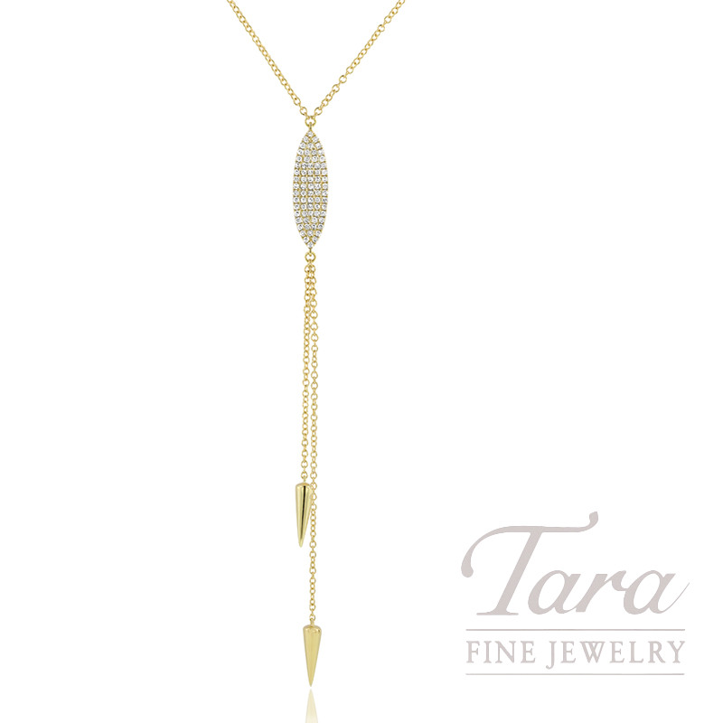 "18K Yellow Gold Pave Diamond Lariat Necklace, 16/17/18"" Chain, 4.9G, .21TDW"