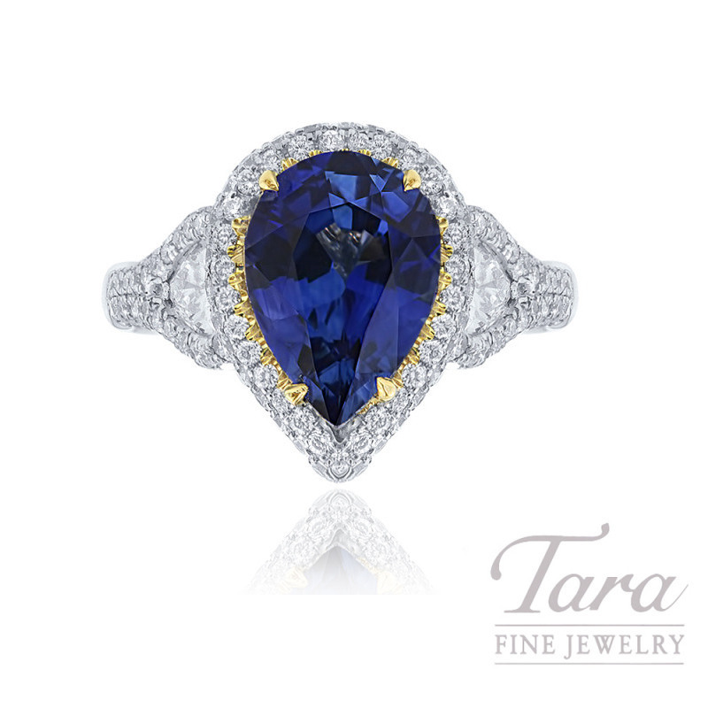 JB Star Platinum and 18K Yellow Gold Blue Sapphire & Diamond Ring, 2.64CT Pear-shape Blue Sapphire, .55TW Pear-shape Diamonds, .08TW Fancy Yellow Diamonds, .70TW White Round Diamonds