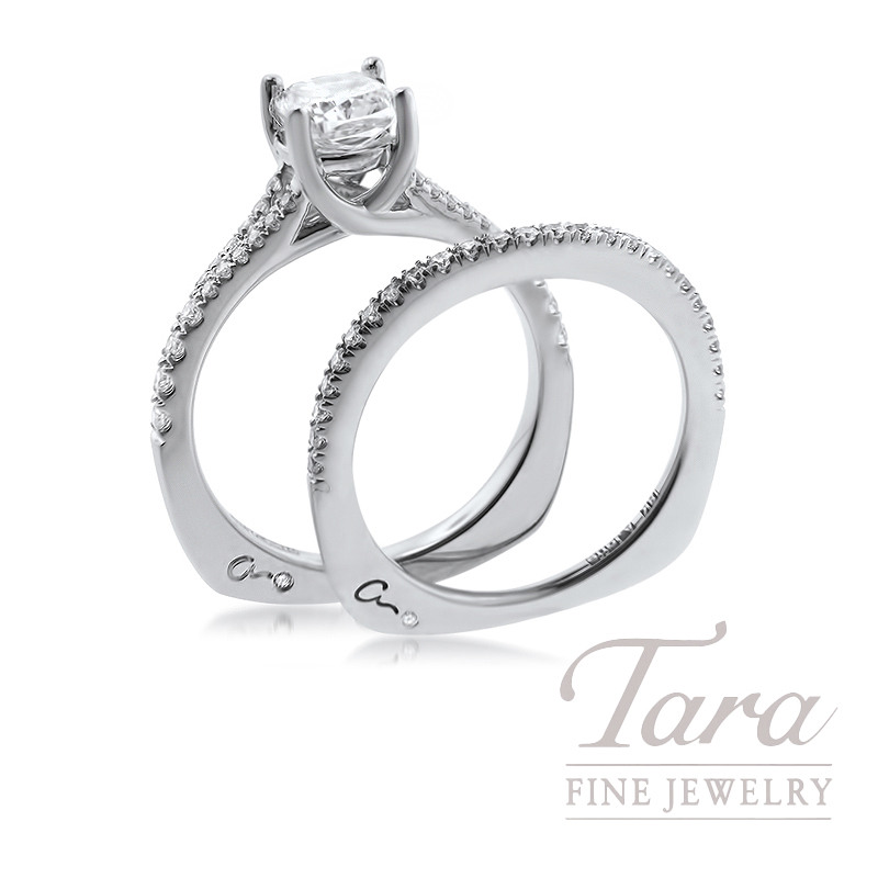 A. Jaffe 18K White Gold Diamond Engagement Ring and Matching Band, .38TDW (Center Stone Sold Separately)