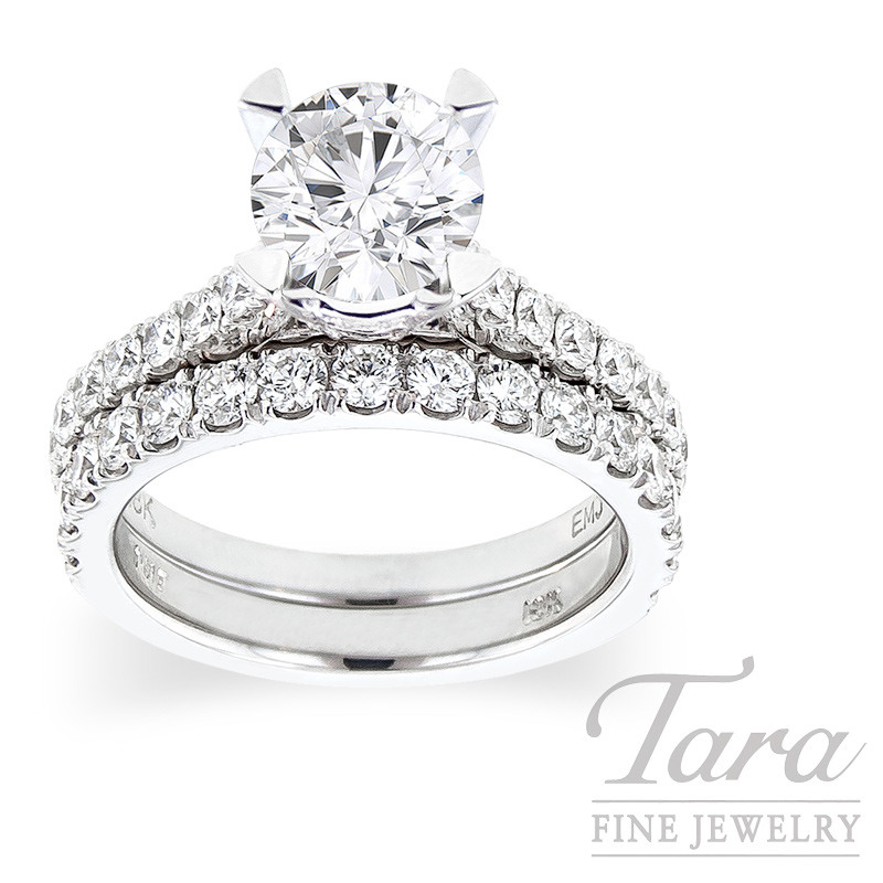 18K White Gold Diamond Wedding Set, .82TDW (Center Stone Sold Separately)