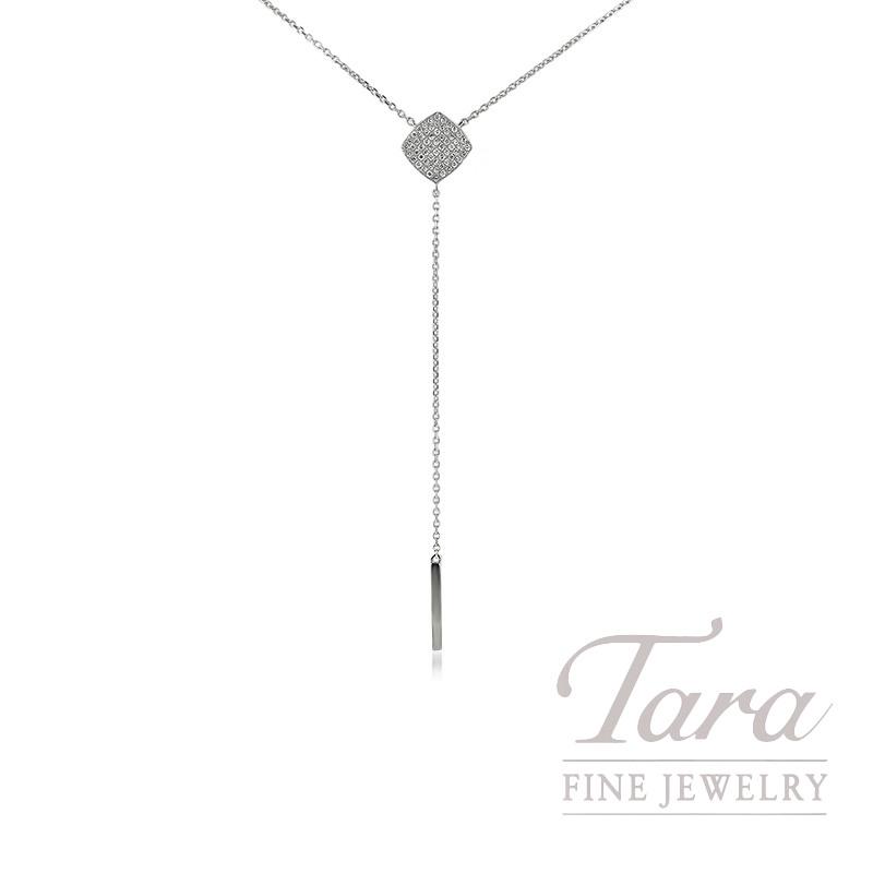 "18K White Gold Diamond Lariat Necklace, 16"" Chain, 3.3G, .26TDW"