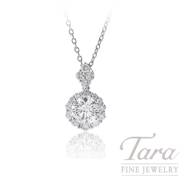 Forevermark 18K White Gold Diamond Halo Pendant, 1.51CT Round Brilliant Diamond, 1.7G, .68TDW