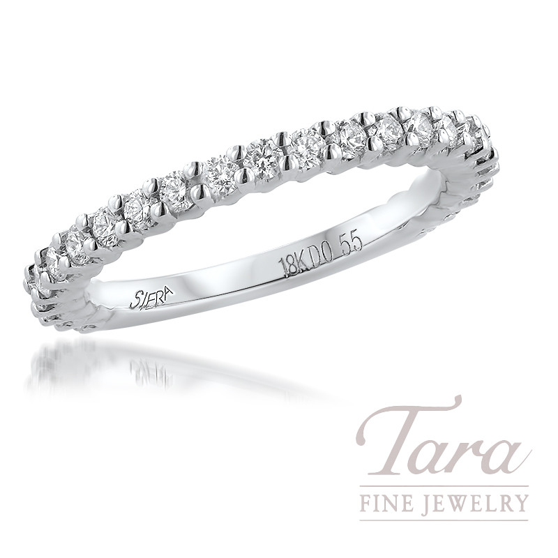 18K White Gold Diamond Band 24 Round Diamonds, 0.55TDW