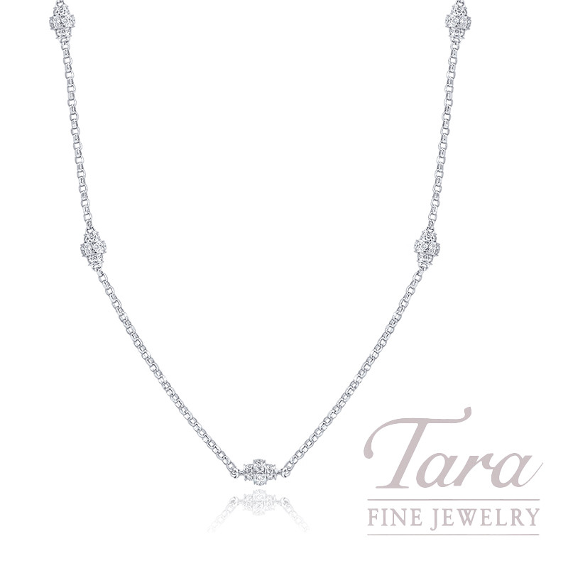 "18K White Gold Stationary Diamond Necklace, 18"" Chain, 6.6G, .90TDW"