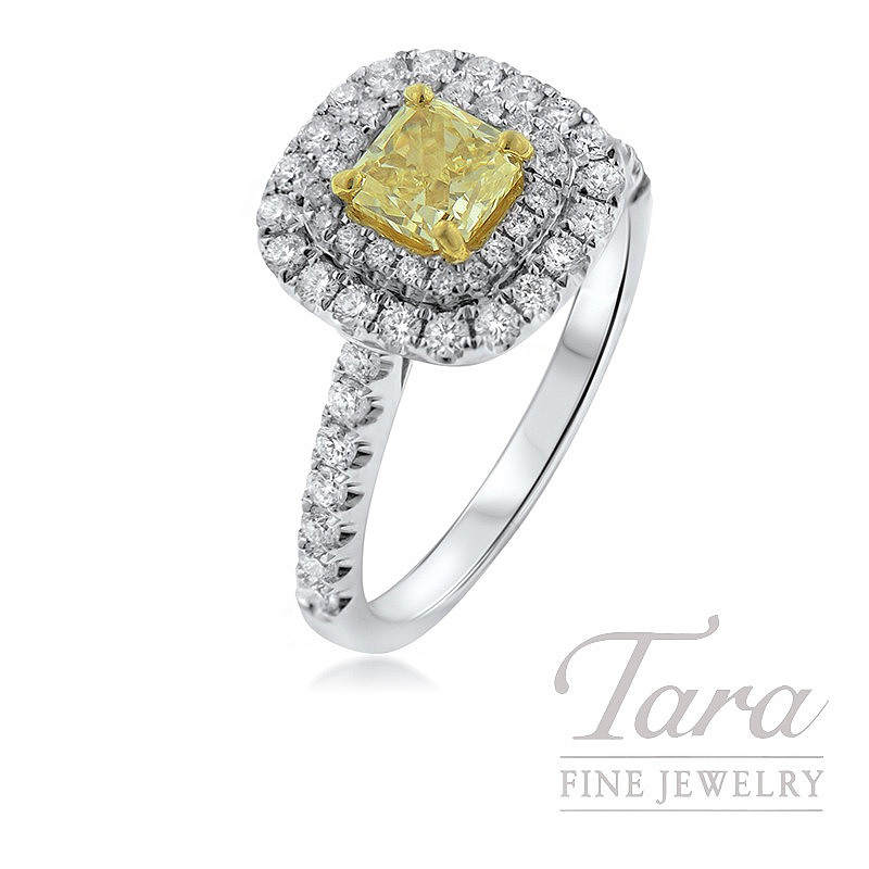Forevermark 18K Two-Tone Diamond Ring, .71CT Yellow Diamond, .62TDW