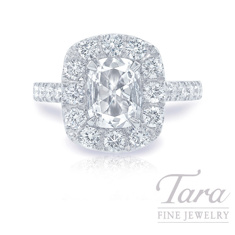 18K White Gold Cushion Diamond Halo Engagement Ring, 1.0CT Cushion Diamond, 6.4G, 1.30TDW (Center Stone Sold Separately)