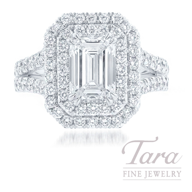 Platinum Double Halo Emerald Diamond Ring, 3.02CT Emerald Cut Diamond, 1.69TDW (Center Stone Sold Separately)