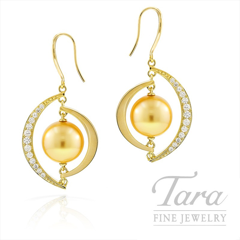 Mikimoto Golden Pearl and Diamond Earrings in 18k Yellow Gold, .20tdw