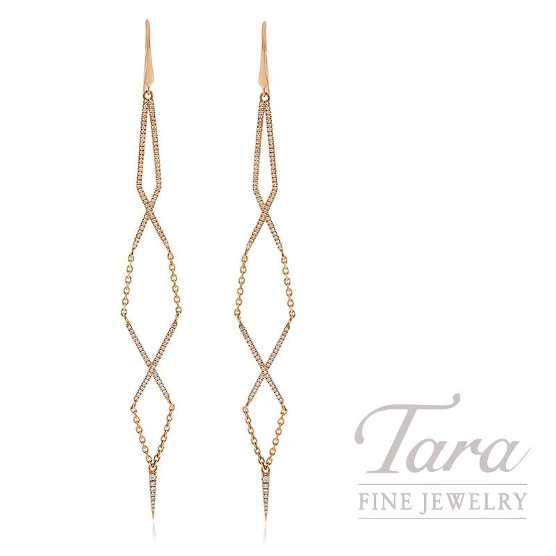 18K Rose Gold Diamond Dangle Earrings, 6.4G, .76TDW