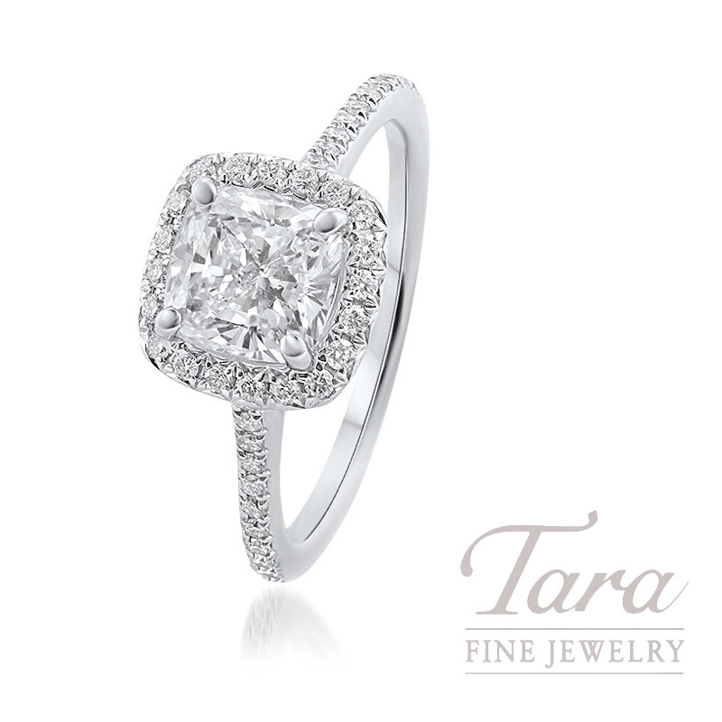18K White Gold Cushion Diamond Halo Engagement Ring, 2.4G, .28TDW (Center Stone Sold Separately)