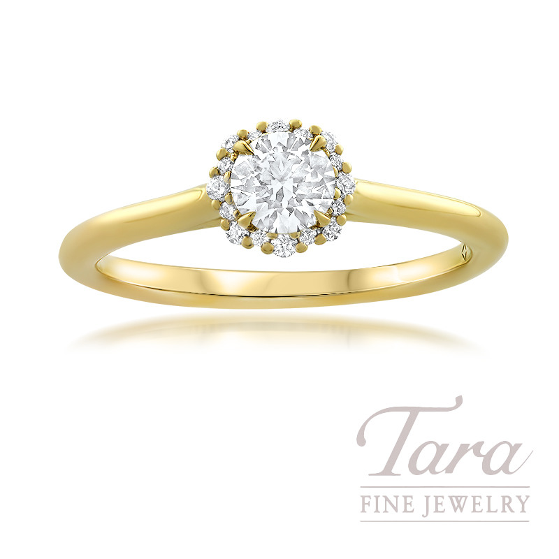 Forevermark 18K Yellow Gold Diamond Engagement Ring, Round Center Diamond 0.34/J-SI1, 16 Round Stones 0.07TDW
