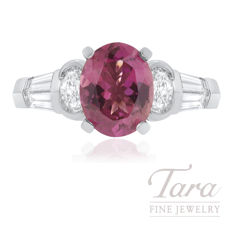 JB Star Platinum Pink Tourmaline and Diamond Ring, 2.08CT Pink Tourmaline Gemstone, .52TDW Oval Diamonds, .55TDW Baguette Diamonds