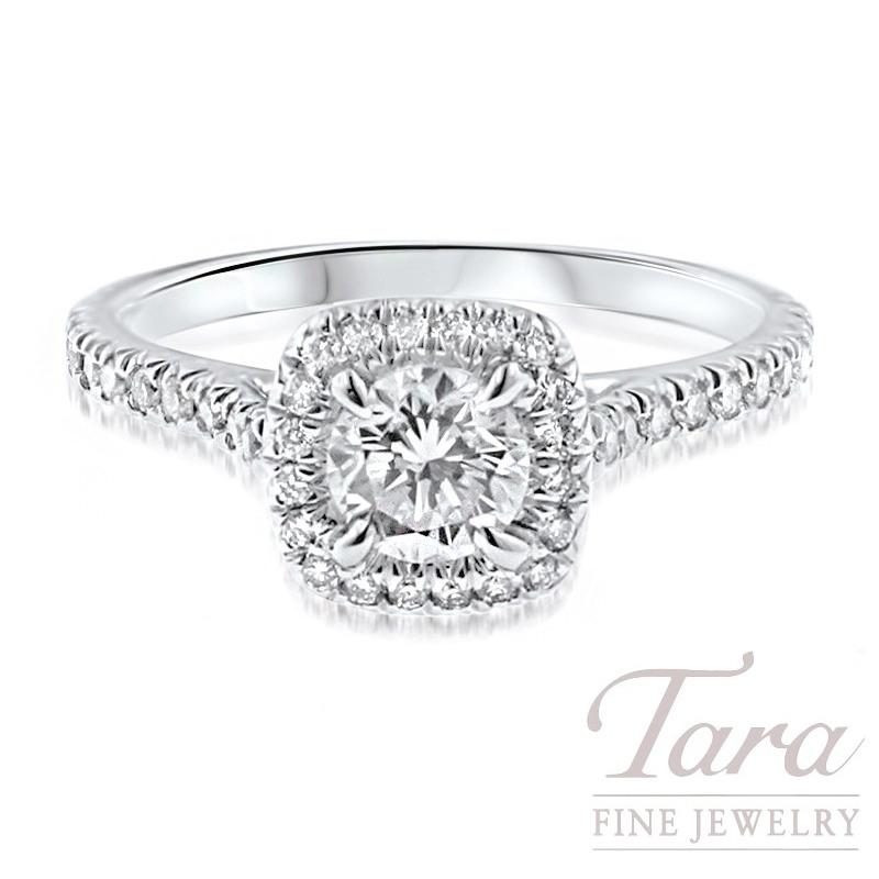 18k White Gold Diamond Halo Engagement Ring, 3.2G, .35TDW (Center Stone Sold Separately)