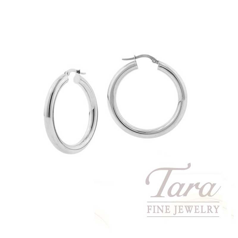 14k White Gold Small Hoop Earrings