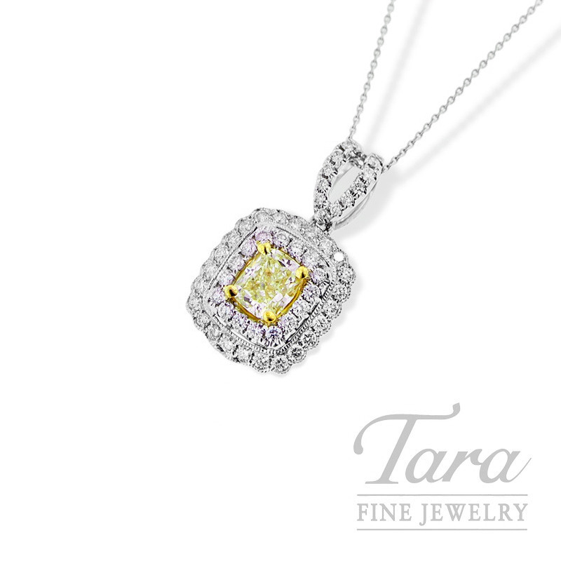 Forevermark Fancy Yellow Diamond Pendant in 18K Two Tone Gold, .77CT Center Stone, with Halo, .52TDW