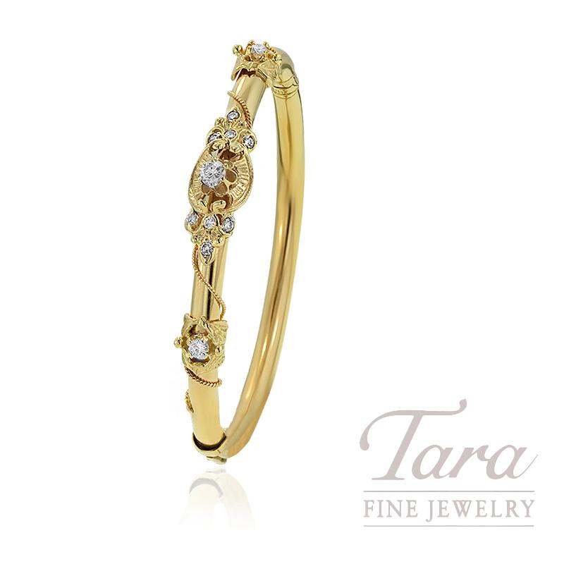 14K Yellow Gold Estate Diamond Bangle Bracelet, 15.1G, .50TDW