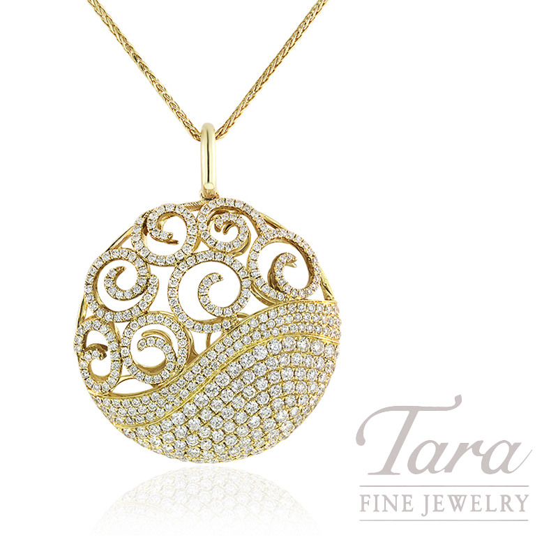 18k Yellow Gold Diamond Medallion Pendant, 15.0G, 3.88TDW