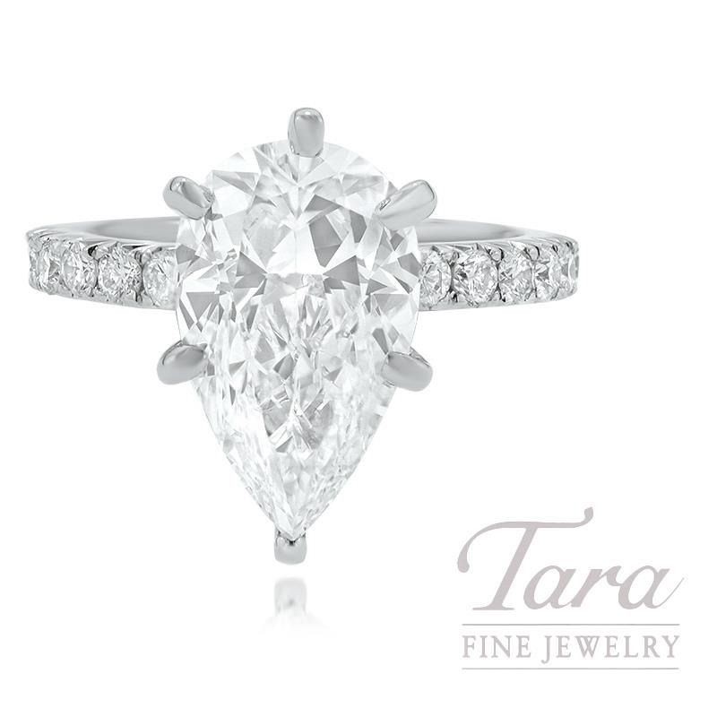 18K White Gold Pear Shape Diamond Engagement Ring, 18 Round Diamonds 0.72TDW, 4.01CT. Pear Shape Diamond Center Stone (Sold Separately)