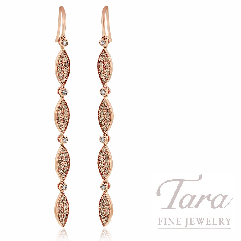 18K Rose Gold Pave Cognac & White Diamond Dangle Earrings, 6.9G, 1.19TDW Cognac Diamonds, .25TDW White Diamonds
