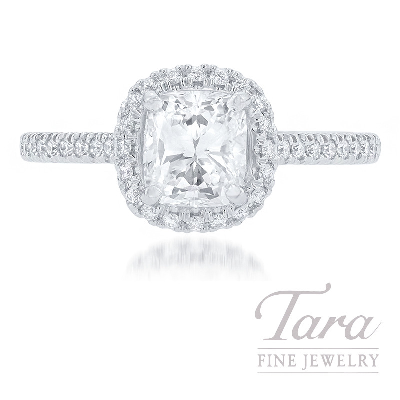 18K White Gold Cushion Diamond Halo Engagement Ring, .91CT Cushion Diamond, 3.2G, .20TDW (Center Stone Sold Separately)