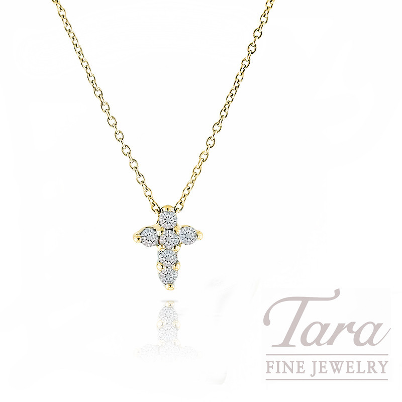 "Roberto Coin 18K Yellow Gold Tiny Diamond Cross Necklace, 16/18"" Chain, .11TDW"