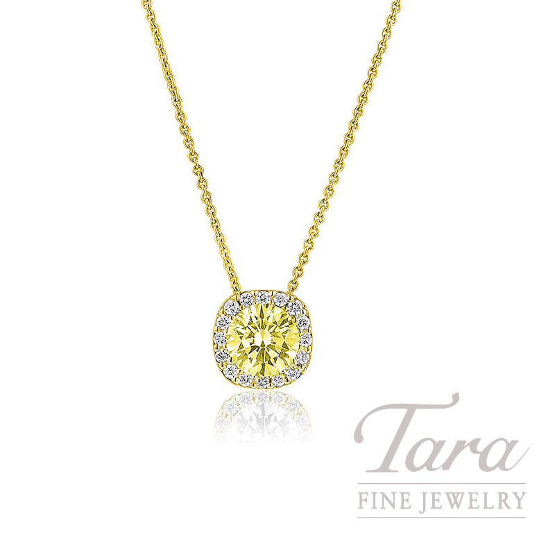 18K Yellow Gold Halo Yellow Diamond Necklace,  .63CT Fancy Yellow Cushion Diamond, VS1, .22TDW