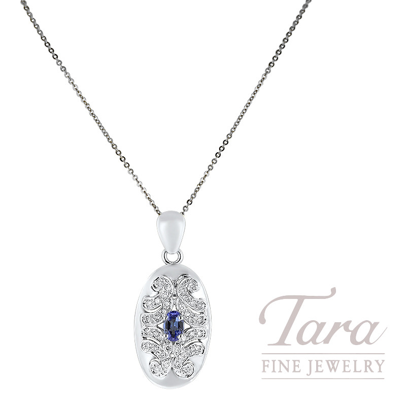 14K White Gold Tanzanite and Diamond Pendant, 6 x 4mm Oval Tanzanite, 36 Round Diamonds 0.25TDW