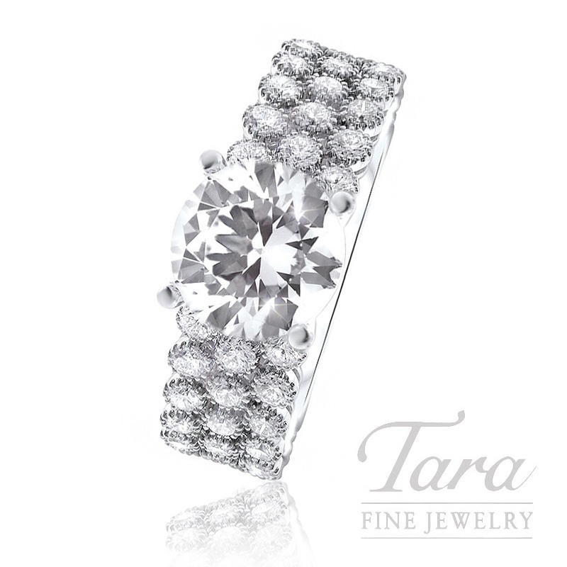18K White Gold 3 Row Diamond Engagement Ring, 6.0G, 1.52TDW (Center Stone Sold Separately)